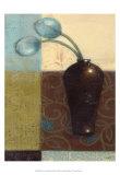 Ebony Vase with Blue Tulips I