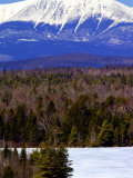 Mount Katahdin Looms in the Background Near Millinocket  Maine