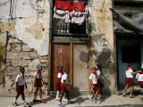 Cuban Students Walk Along a Street in Old Havana  Cuba  Monday  October 9  2006