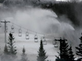 Snow Guns Pump out Man-Made Snow at Bretton Woods Ski Area  New Hampshire  November 20  2006