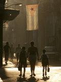 A Mother Walks Her Children to School in Old Havana  Cuba