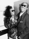 Whitney Houston and Stevie Wonder American Singers Back Stage at Nelson Mandela Birthday Concert