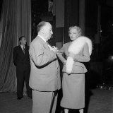 Film Director Alfred Hitchcock and Marlene Dietrich on the Set of Stage Fright