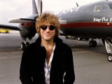 Jon Bon Jovi Stands Alongside Aeroplane in Germany Assigned to him on the Keep the Faith Tour