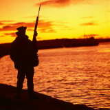 Falklands War 1982 a British Soldier Standing Guard at Sunset