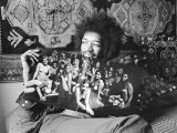 Jimi Hendrix in London at His Mayfair Flat Once the Residence of George Frederick Handel  1969