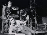 The Smiths L-R Andy Rouke  Mike Joyce (Drums)  Johnny Marr and Morrissey (Centre)  March 1984