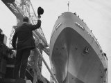 Shipyard Director Waves off the Ship at the Launch of the Transvaal Castle  January 1961
