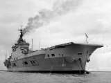 Ships Royal Navy Aircraft Carrier HMS Eagle at Anchor in Plymouth Sound  November 1951