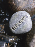 Blessings Written on Rock in Flowing Water