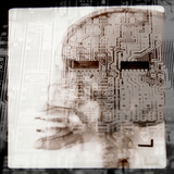Computer Circuitry Superimposed on X-Ray of Person's Skull