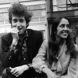 Bob Dylan American Folk Singer with Joan Baez in the Savoy Gardens on the Thames Embankment  1965