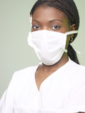 Doctor Wearing White Mask over Her Face