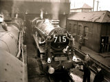 """Railway Workers Cleaning the Cardiff Rail Name Plate """"Capitals United Express""""  Wales 1950s"""