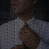 Businessman Straightening Tie with Superimposed Binary Code