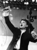 Bono Lead Singer from U2 Performs on Stage at the Biggest Charity Live Event Live Aid