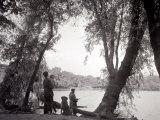 A Family Out in the Countryside  Fishing on the Bank of a Lake 1953