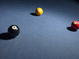Pool Balls on Blue Felt Pool Table