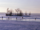 Ice Fishing in Lac St Louis  Montreal  Quebec