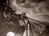 The Crew of a Yarmouth Herring Boat Pull in Their Catch on a Storm Tossed North Sea  1935