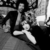 Jimi Hendrix with Girlfriend Kathy Etchingham in His Mayfair Flat  1969