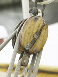 Wooden Pulley and Rope of Boat Rigging