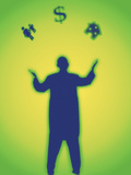 Silhouette of a Man Juggling a Symbol of a House  People and a Dollar Sign