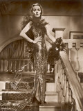 Marlene Dietrich a Signed Photograph of Her Wearing a Very Sparkly Dress and Lace Boa
