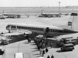 Passengers Boarding a Bea Vanguard Aeroplane Straight from the Runway