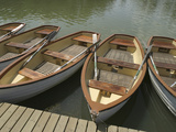 A Dock with Several Rowboats Lined up in the Water