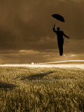 Flying Man with Umbrella