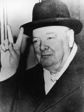 "Winston Churchill in Later Life Making His Famous Wartime ""V for Victory"" Sign"