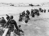 American Troops Under Enemy Fire Wading Through the Sea to Land on the Beaches of Normandy France
