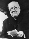 Winston Churchill British Prime Minister in Later Life Reading a Letter
