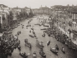 View from Above of the Grand Canal in Venice During a Historical Regatta