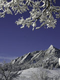 Winterscene of the Flatirons in Boulder  Colorado