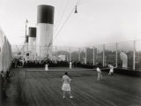 Tennis Match Played on the Games Deck of the German Transatlantic Liner &#39;Cap Arcona&#39;