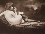 Portrait of a Young Woman Posing Naked  with Her Back Turned  as She Smokes a Cigarette