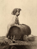 Portrait of a Nude Child in Front of a Wine Cask