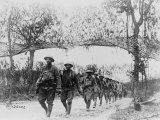 US Army Infantry Troops Marching Northwest of Verdun  France  in World War I  1918