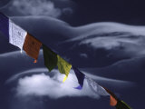 Prayer Flags Infront of Clouds  Nepal