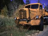 An Orange Truck at a Car Cemetery in Colorado