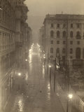 View of Via S Antonio (Now Via Dante) in Trieste  with the Streetlamps Lit  on a Foggy Day