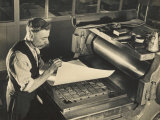 Printer in a Waistcoat with a Handlebar Moustache Checks His Printing Chase on the Chase