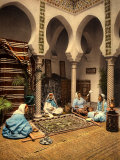 Arabian Ladies Weaving a Moorish Carpet in an Internal Setting of Algiers