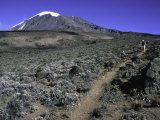 Hikers Moving Through a Rocky Area  Kilimanjaro