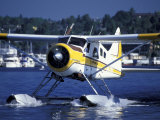 Float Plane Taxiing to Terminal on Lake Union  Washington  USA
