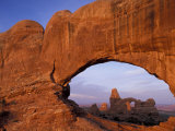 Double Arch Frames Turret Arch at Dawn  Arches National Park  Utah  USA