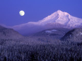 Moon Rises Over Mt Hood  Oregon Cascades  USA