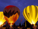 Hot Air Balloons During Night Glow  Kent  Washington  USA